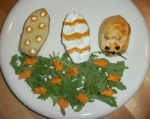 Easter Potato Eggs with a Bunny Biscuit and Salad