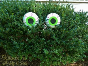 Dollar Store Spooky Bush Eyes Outdoor Craft…cheap & easy!