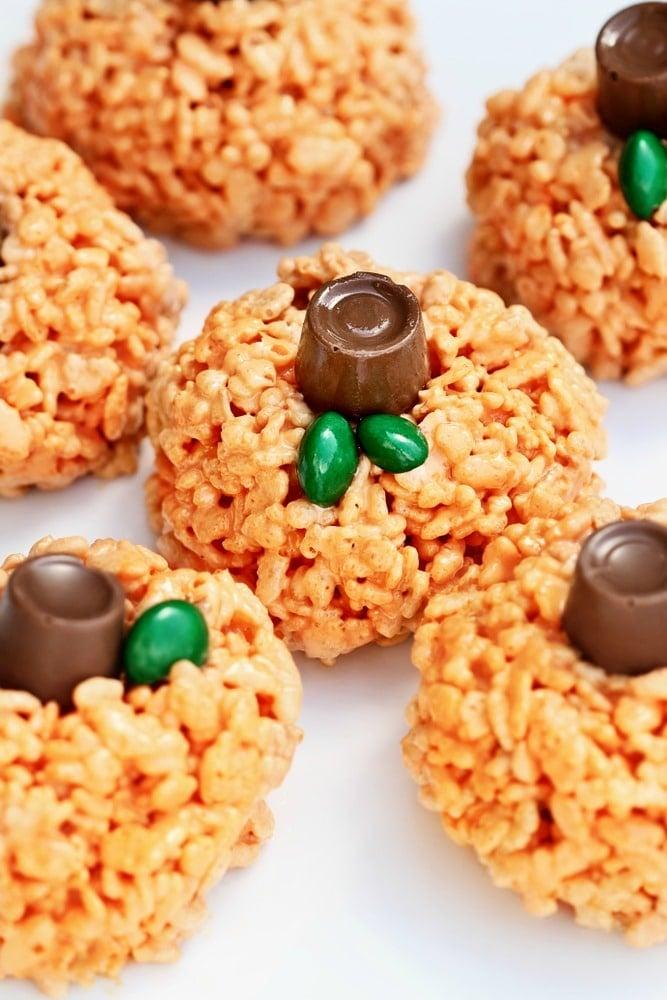 Pumpkin Rice Krispie Treats with a Hidden Surprise Inside