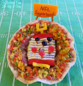 Super Bowl Taco Bowl & other Fun Food Football Field ideas!