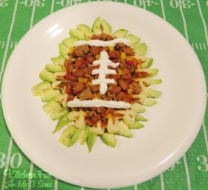 Football Turkey Chili over Corn Bread Waffles
