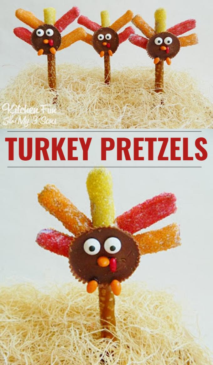 Thanksgiving Turkey Pretzel Rod Treats