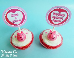 Easy Valentine Piggy Cupcakes with FREE Printables!