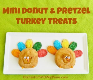 Thanksgiving Mini Donut and Pretzel Turkey Treats