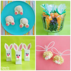 Preschool Easter Party with Bunny Butt Donuts, Fruit Carrots, Bunny Juice Boxes, and Bunny Popcorn Bags!