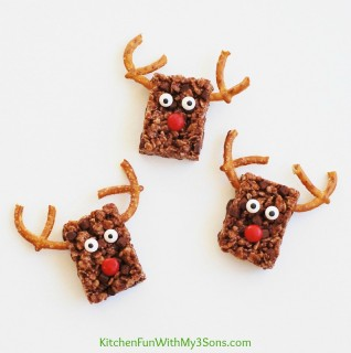 Easy Reindeer Chocolate Rice Krispie Treats for Christmas