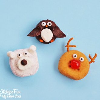 Easy Christmas Polar Bear, Penguin, & Rudolph the Red Nose Reindeer Mini Donuts from KitchenFunWithMy3Sons.com