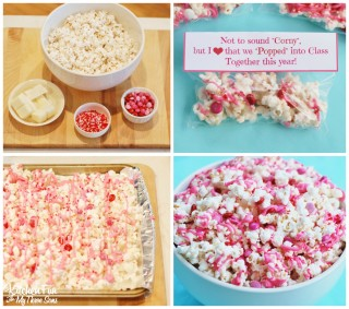 Valentine's Day Snack – White Chocolate Popcorn with a Free Printable!