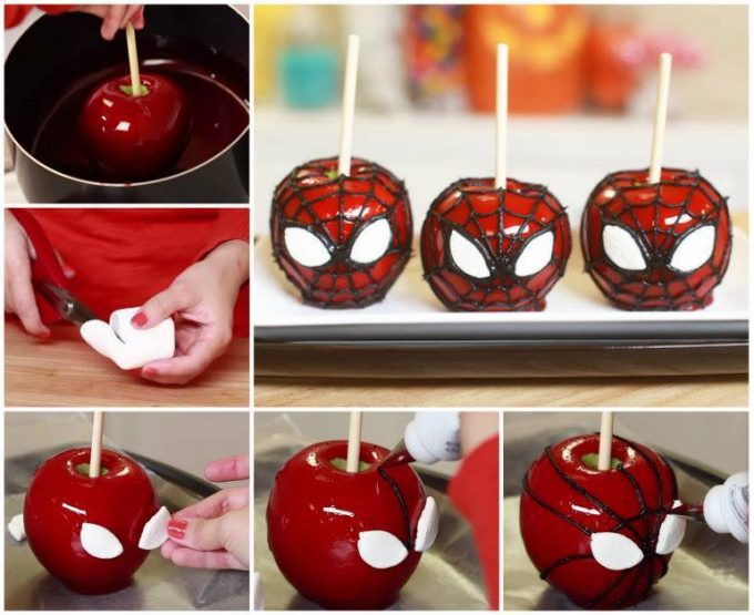Spider Man Candy Apples for Halloween!