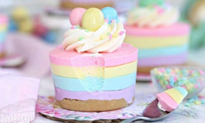 Easter No-Bake Mini Cheesecakes