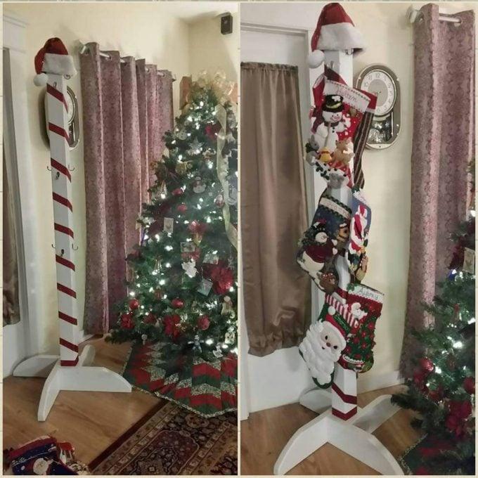 Christmas Candy Cane Stocking Holder