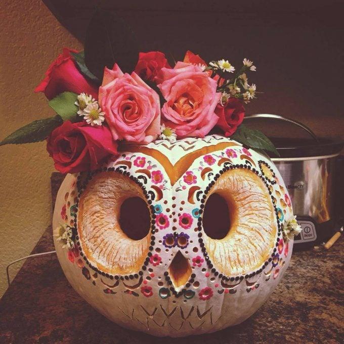 Sugar Skull Owl Pumpkin