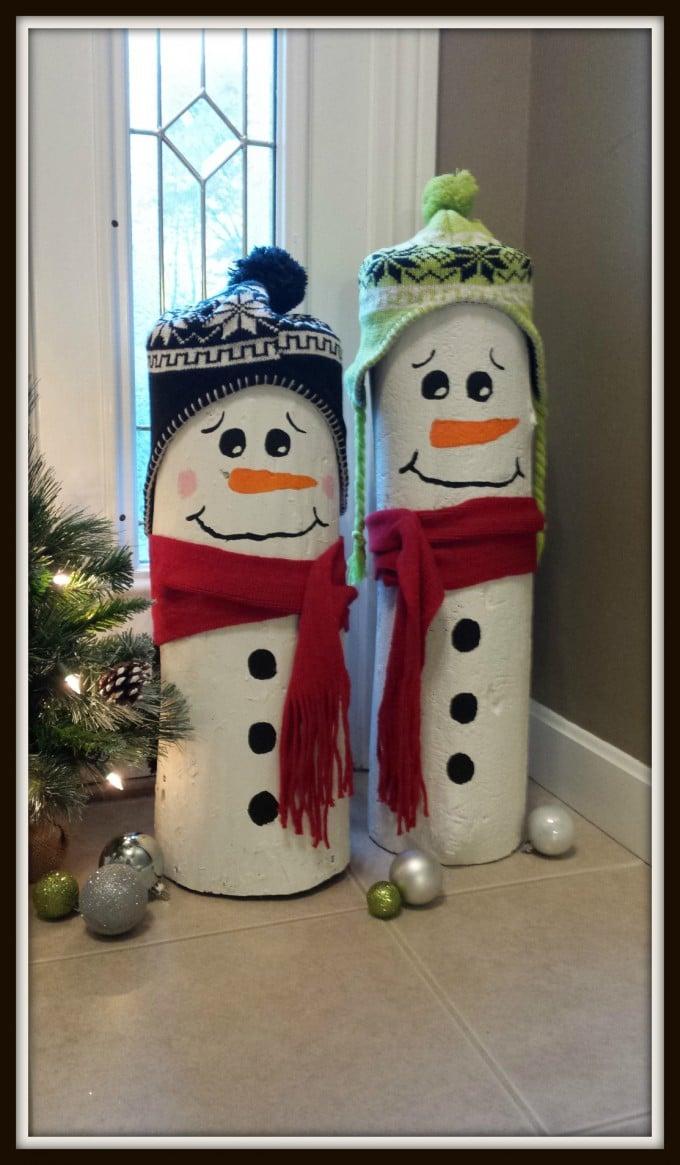 DIY Log Snowmen