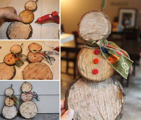 Easy Snowman Log Slice Decoration