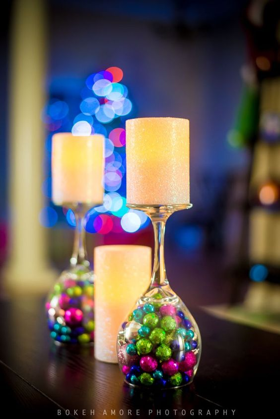 DIY Christmas Wine Glass Candle Holders