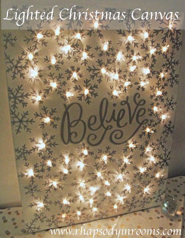 DIY Christmas Lighted Canvas