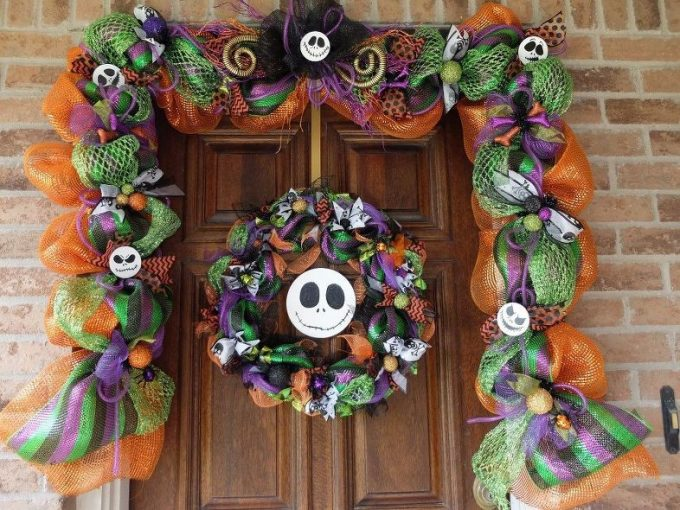 NIghtmare Before Christmas Mesh Garland Wreath