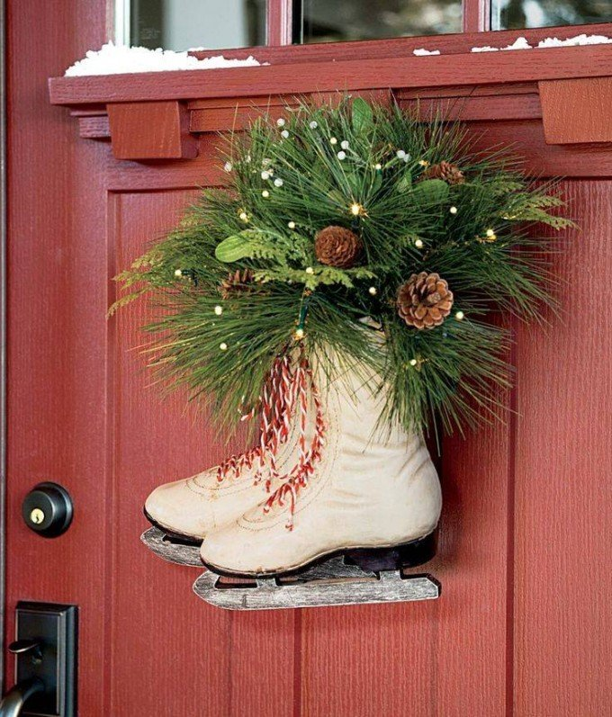 Ice Skates Christmas Wreath