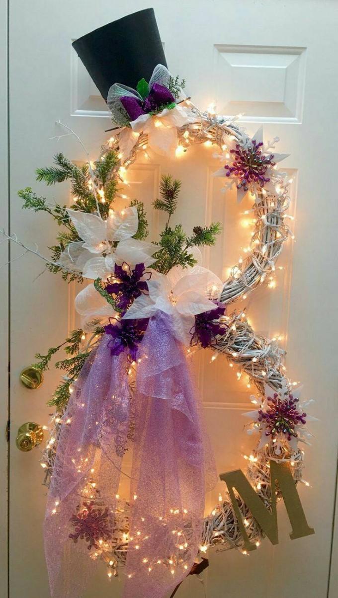 Lighted Snowman Wreath