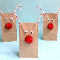 Christmas Rudolph the Red Nose Reindeer Treat Bags...such a fun and easy Holiday craft idea for the Kids!