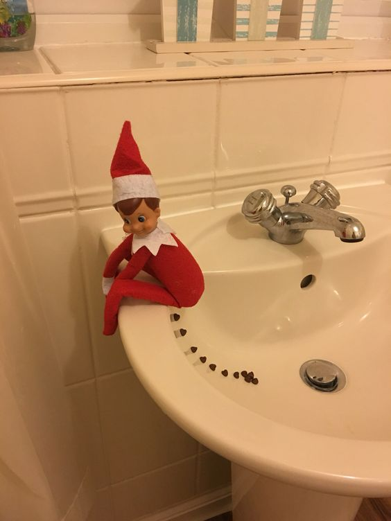 Elf on the Shelf pooped in the sink