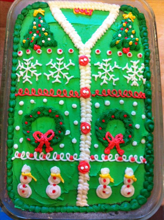 Ugly Christmas Sweater party cake and ideas!