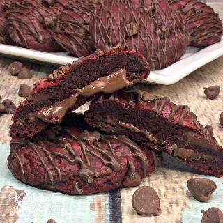 Red Velvet Nutella Stuffed Cookies