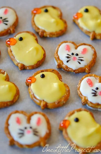 Easter Bunny and Duck Pretzel Treats