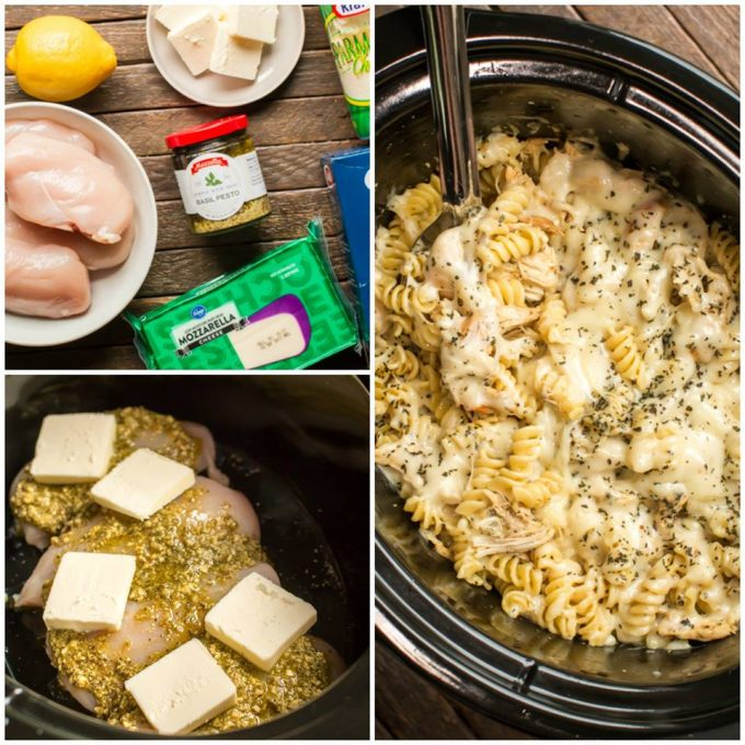 Slow Cooker Pesto Mozzarella Chicken Pasta