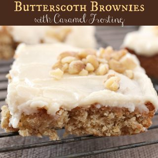 Butterscotch Brownies with Caramel Frosting