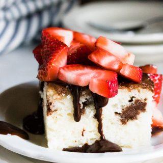 Chocolate Ganache Berries Poke Cake