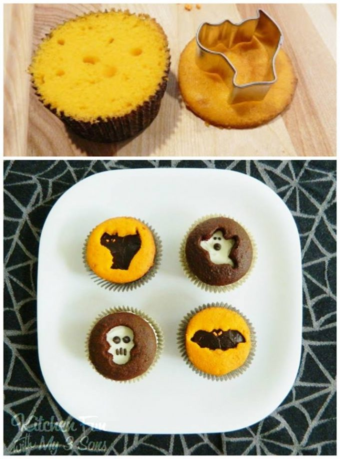 Halloween Cookie Cutter Cupcakes - BEST Halloween Treat ideas!