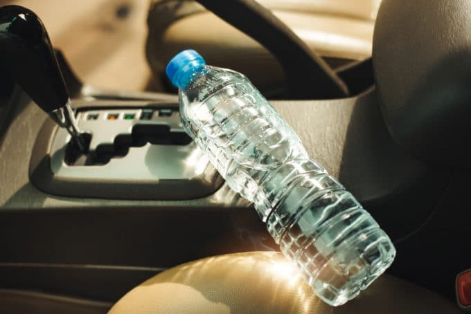 Firefighters Warn against Plastic Water Bottles in left in Cars