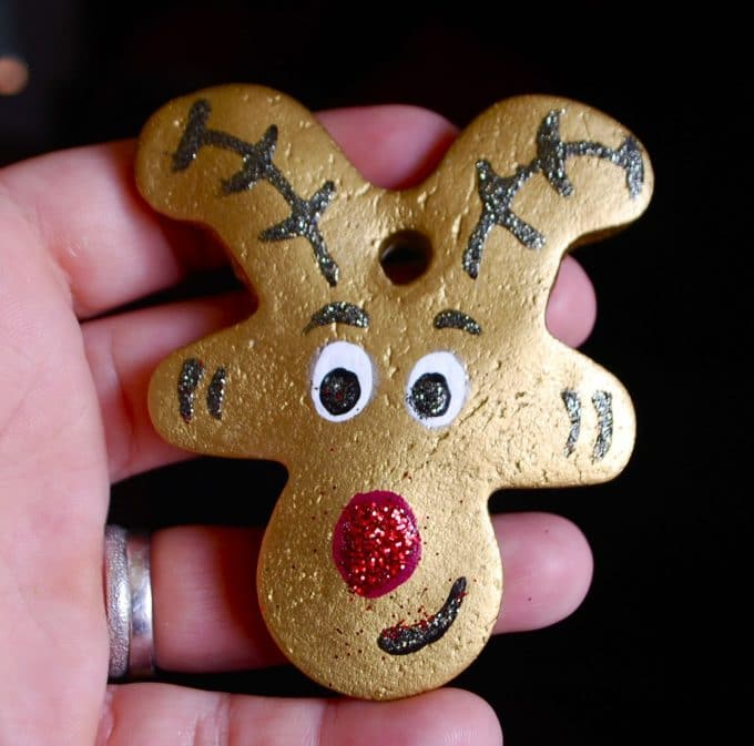 Reindeer Salt Dough Ornament using an upside down Gingerbread Man cookie cutter - Over 30 of the BEST Christmas Salt Dough Ornaments