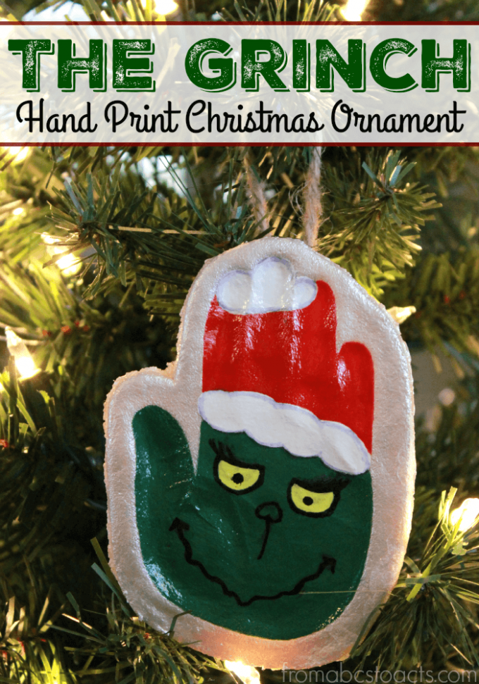 The Grinch Handprint Ornaments - Over 30 of the BEST Christmas Salt Dough Ornaments