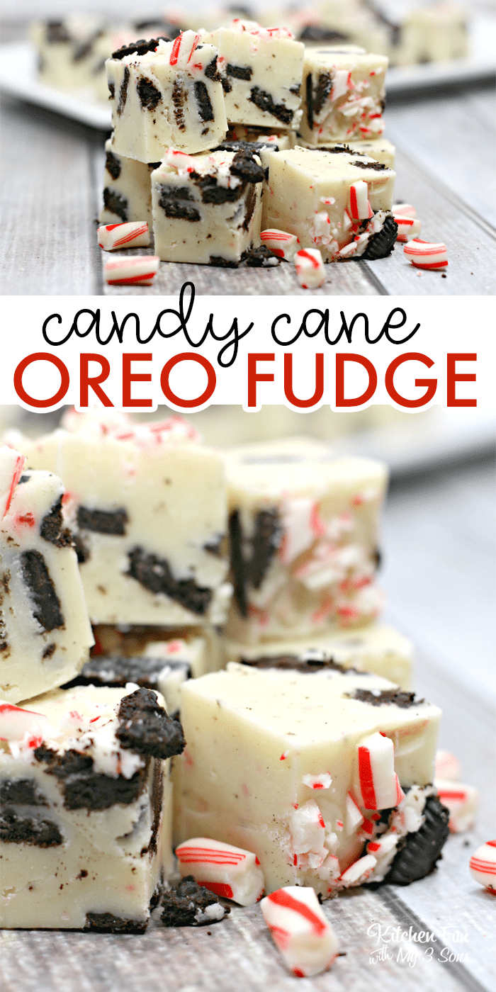 Candy Cane Oreo Fudge | The best easy Christmas recipe - white fudge with Oreo's and candy canes!