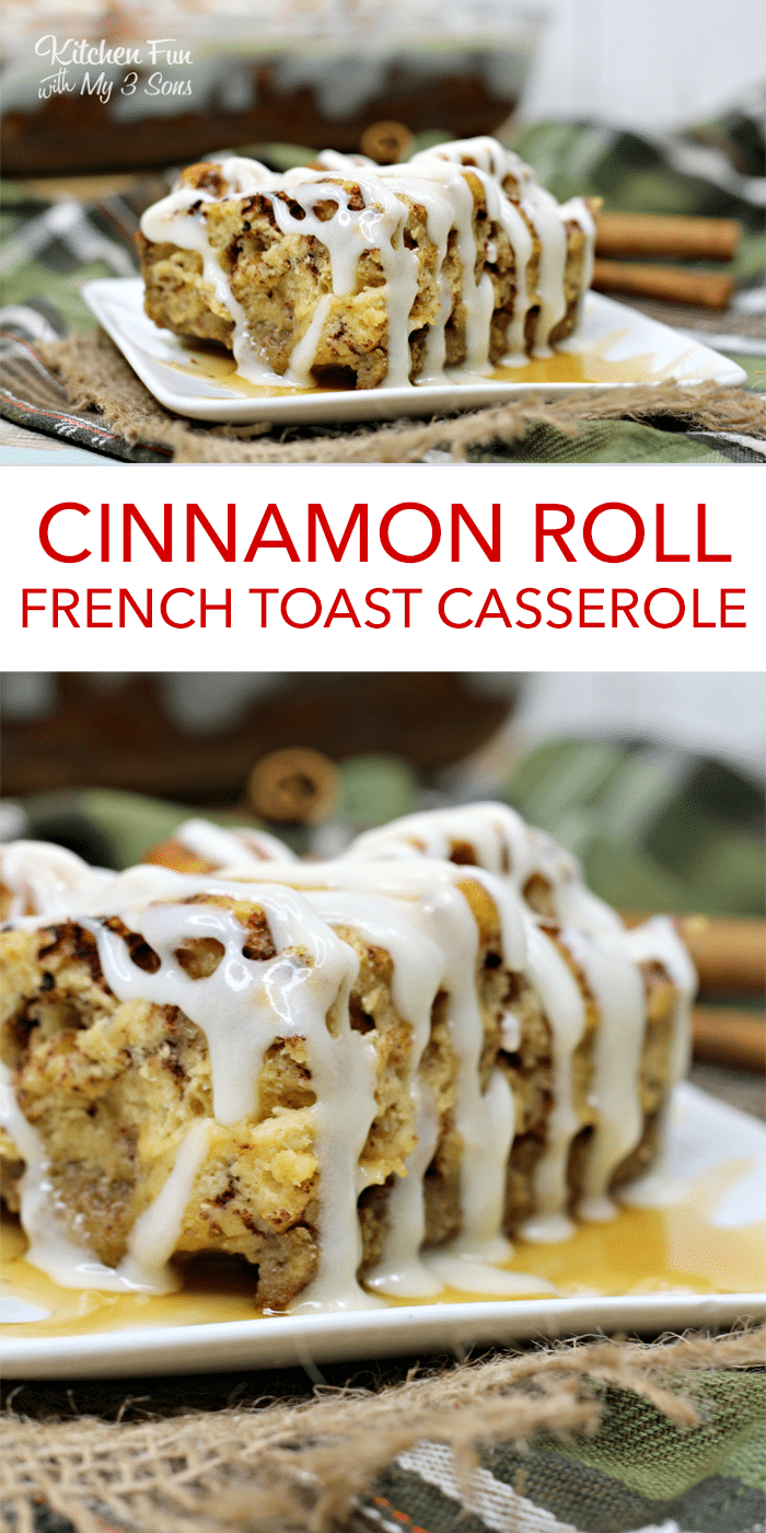 Cinnamon Roll French Toast Casserole | A yummy Christmas breakfast to make if you love french toast and cinnamon rolls!