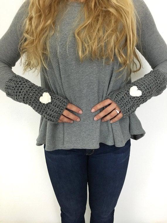 Fingerless Crochet Heart Gloves