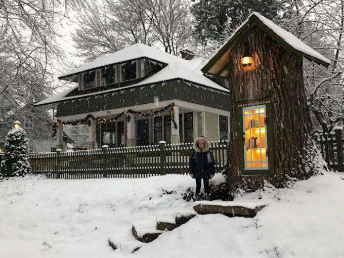Free Little Tree Stump Library for Neighborhood Kids