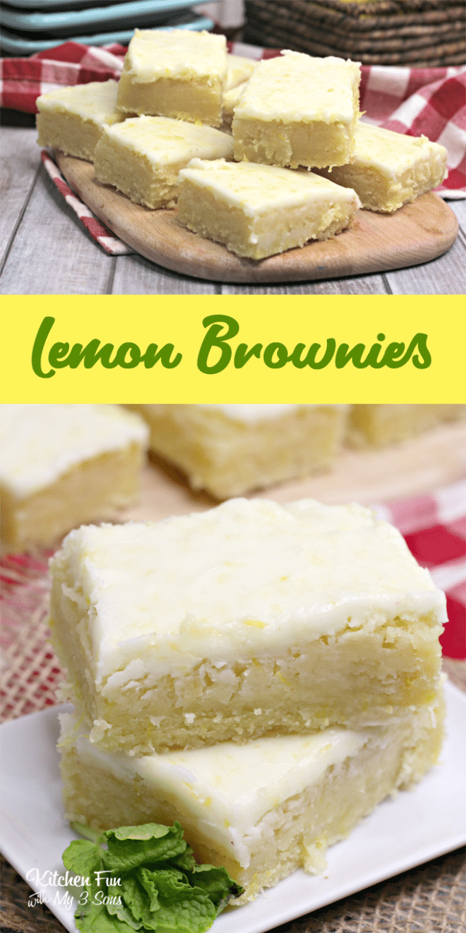Lemon Brownies are my new favorite dessert. Topped with a delicious lemon glaze, they are just the right mix of fresh lemon and sweetness.