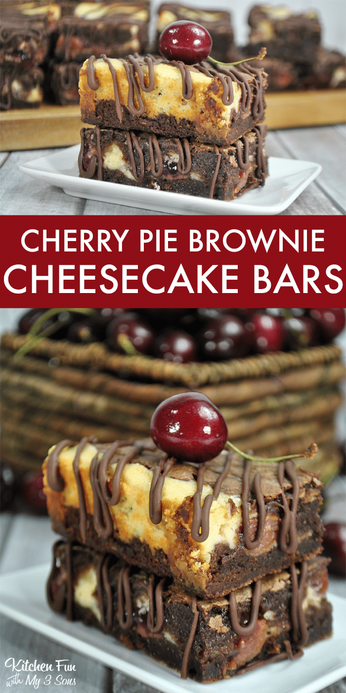 These Cherry Pie Brownie Cheesecake Bars with rich chocolate combined with wonderful cream cheese and cherry pie filling just might make this recipe your new favorite.