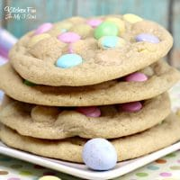 Easter M&M Cookies are my families favorite holiday recipe. A delicious chocolate chip cookie recipe full of the spring colored M&Ms that only come around at Easter.