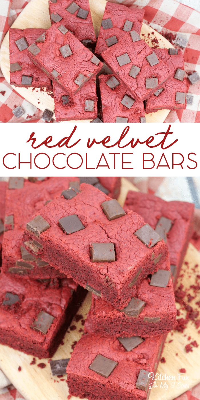 These Red Velvet Chocolate Chunk Bars are simply scrumptious and easily made using a cake mix. I love red velvet combined with chocolate.