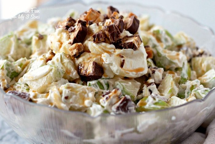 Snicker Salad with Apples, Caramel, Cream Cheese and Snickers Candy Bars