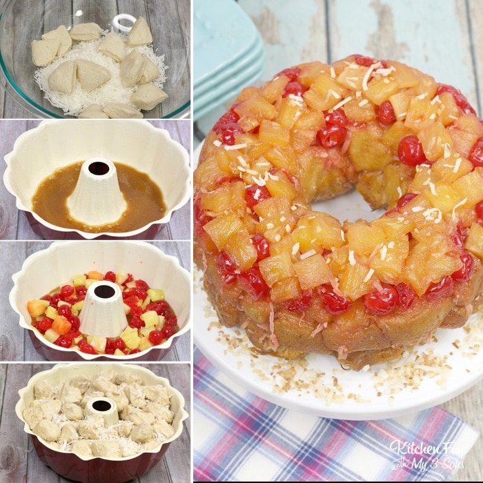 Pineapple Upside Down Monkey Bread combines two of my favorite sweet treats. Plus, this is very simple to make!