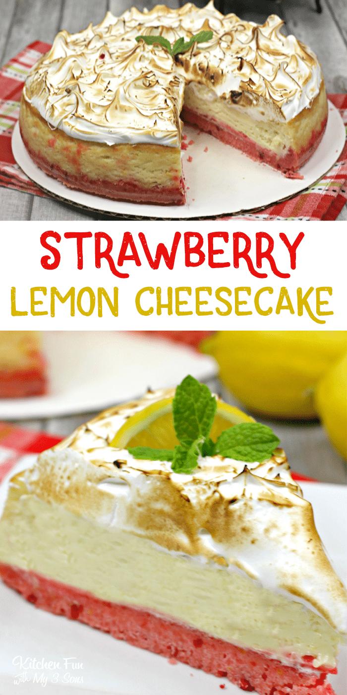 Strawberry Lemon Cheesecake is a delicious combination of strawberry crust, lemon cheesecake and meringue on top.