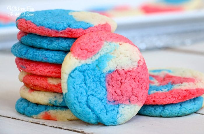 Patriotic Cake Batter Cookies are a swirl of red, white and blue that's perfect for the 4th of July. They're an easy cookie recipe that always taste yummy.