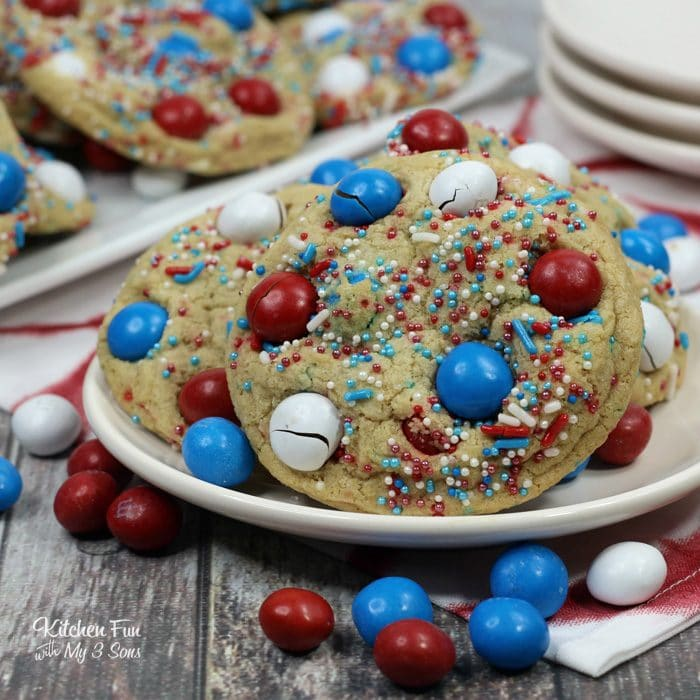 Patriotic M&M Fire Works Cookies