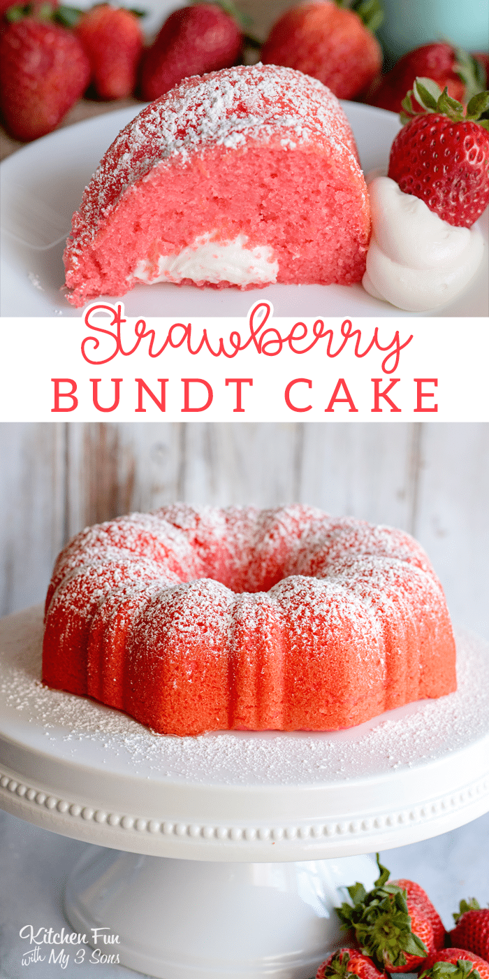 This Strawberry Bundt Cake is filled with a yummy vanilla, marshmallow filling! It's moist, creamy and full of delicious strawberry flavor.