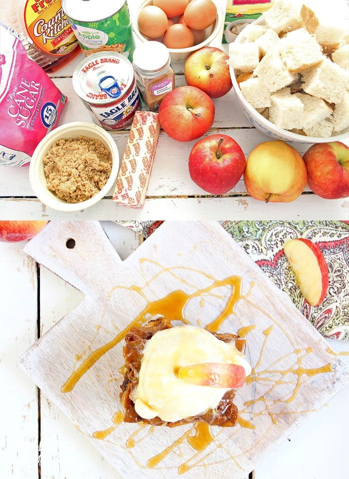 Slow Cooker Apple Bread Pudding